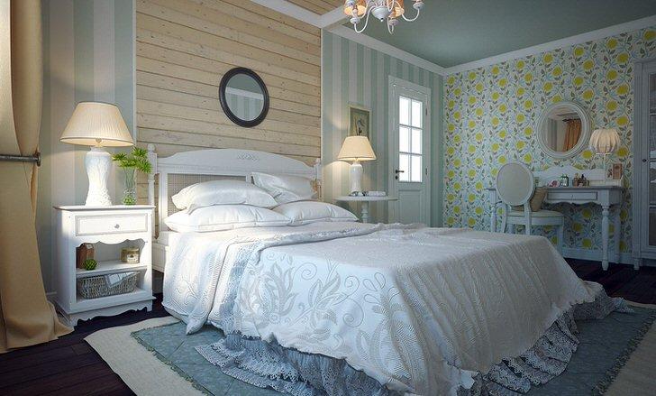 Утончённый стиль юга Франции-прованс. Мягкие, простые формы интерьера придают неповторимый уют спальни.