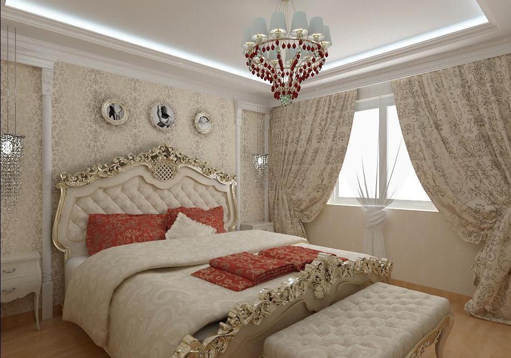 """Спальня барокко в городской квартире. Массивные шторы, кровать с деревянными резными спинками и люстра """"под старину""""."""