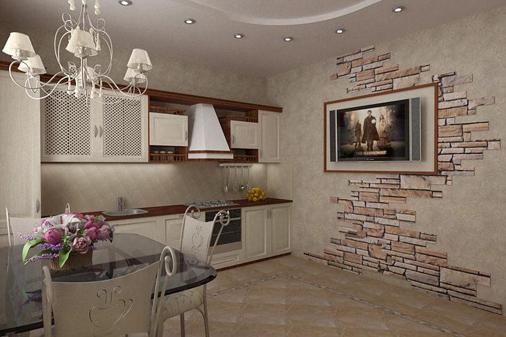 Дизайнерский проект для оформления небольшой кухни в кантри стиле. Светлые тона мебели в контрасте темно-коричневой столешницей и подвесными полочками делают кухню зрительно более просторной. Интересно также оформление стены с помощью природного камня.