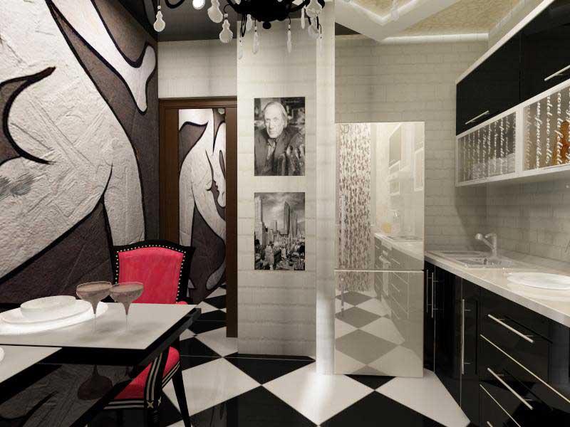 Классическое сочетание белого и черного цвета на авангардной кухне.