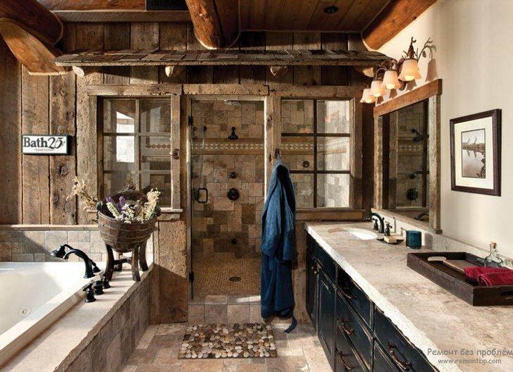 Ванная комната в кантри стиле. В одном дизайнерском проекте отлично объединились деревянные элементы отделки и мраморная плитка.