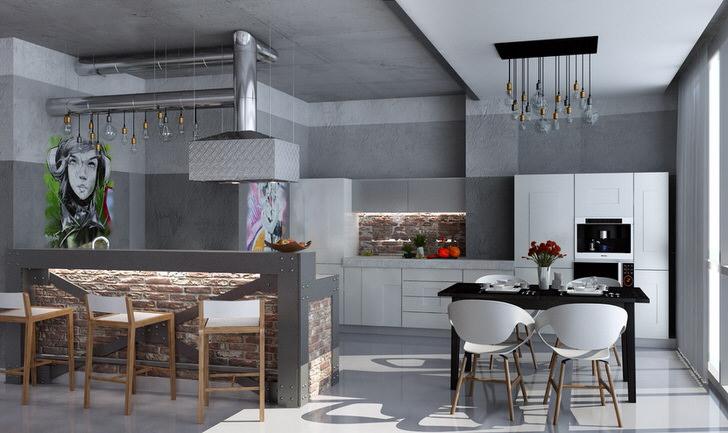Мебель для кухни в стиле лофт-современный вариант.
