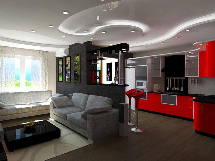 Правильно оформленный потолок в стиле авангард.