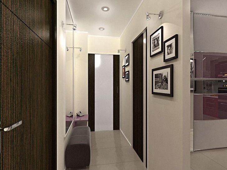 Дизайнерское решение для узкой прихожей. Оформление в контрастных белых и темно-коричневых цветах, не только смотрится стильно, но и визуально делает комнату больше.