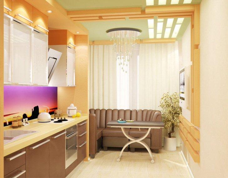 Максимум комфорта в столовой зоне. Красивое сочетание цвета и света.