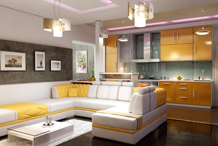 Кухня-студия с просторной зоной отдыха.
