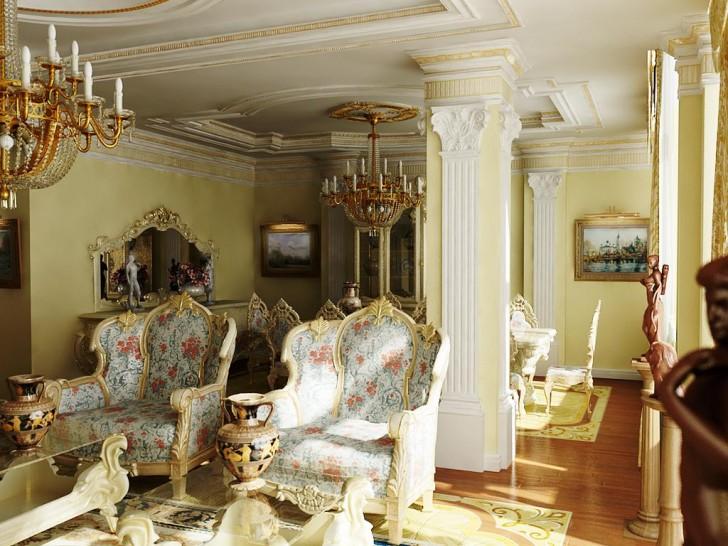 Массивные кресла с цветочной обивкой в гостевой комнате в стиле барокко. Потолки и колону украшает лепнина из гипсокартона.