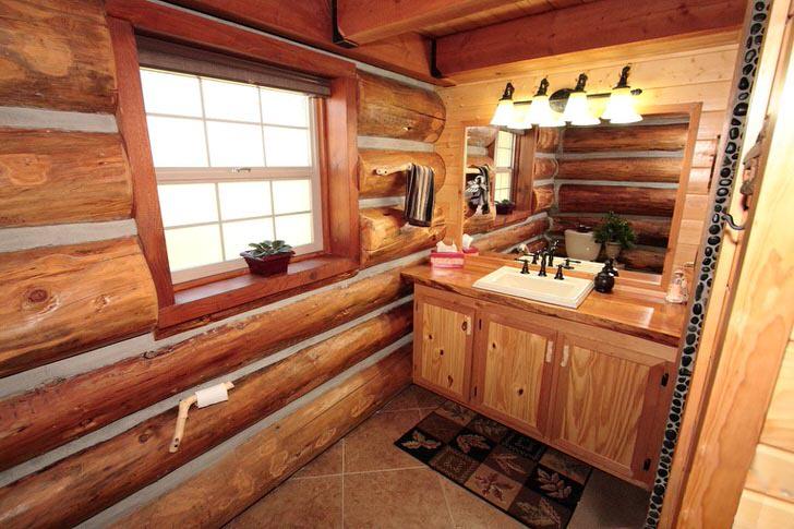 Просто ванная комната в добротном бревенчатом доме... Не хватает теплоты стиля кантри.