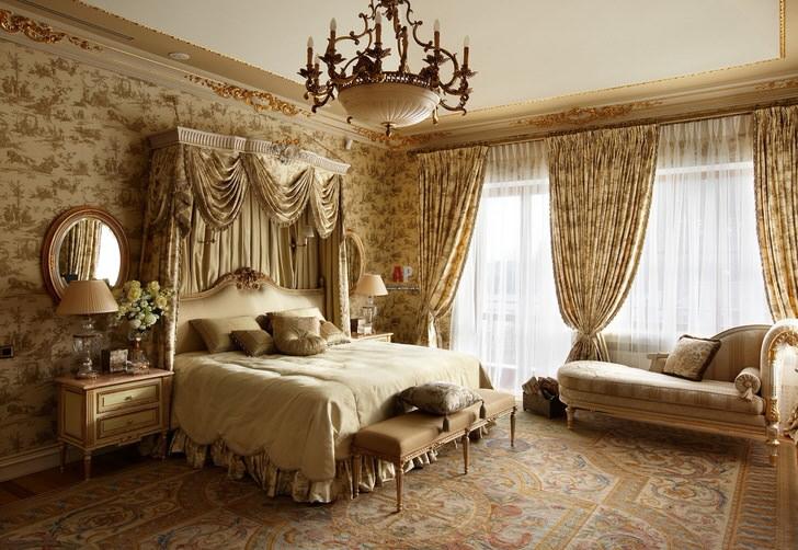Роскошь и сдержанность в интерьере просторной спальни. В отделке только природные материалы.
