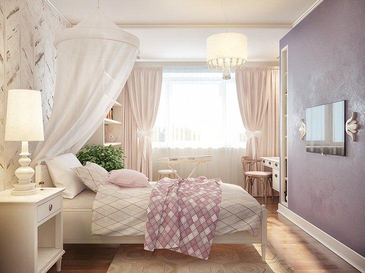 Комната для маленькой принцессы. Балдахин из белой легкой, полупрозрачной ткани сделает сон ребенка еще более комфортным.