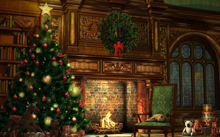 Камин в Рождество