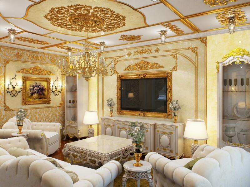Гостевая комната оформлена в лучших традициях стиля барокко.