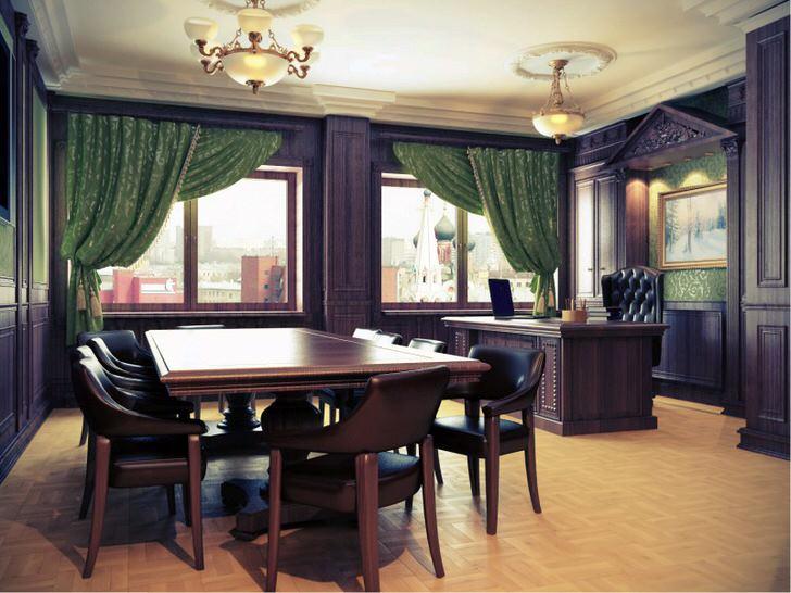 Рабочий кабинет в стиле ампир. Идеальное решение для городских квартир. Массивная деревянная мебель с гладкими полированными поверхностями из темного дерева отлично сочетается со светлым паркетом.