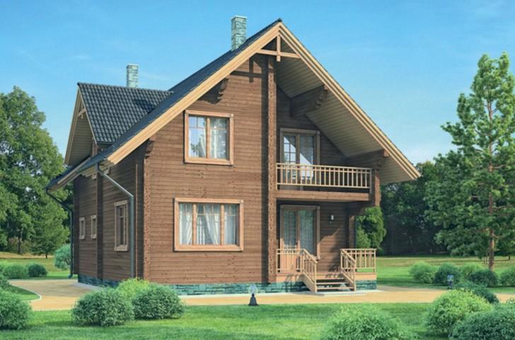 В оформлении фасада по большей части используется деревянный сруб.