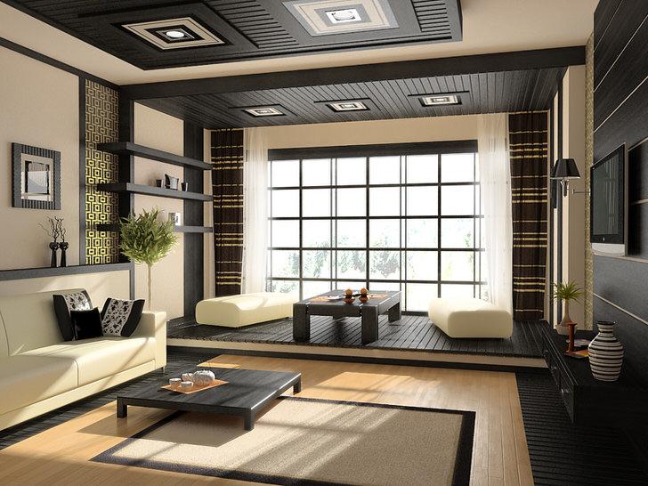 Лаконичность, простота, характерные цвета и декор японского стиля в интерьере гостиной.