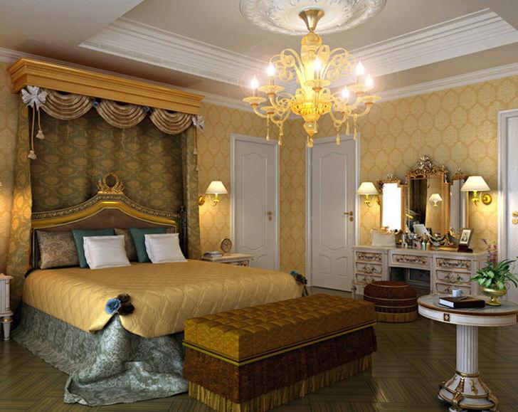 Просторная спальная комната в стиле ампир с правильно подобранным освещением. Над кроватью нависает балдахин из дорогой, тяжелой ткани.