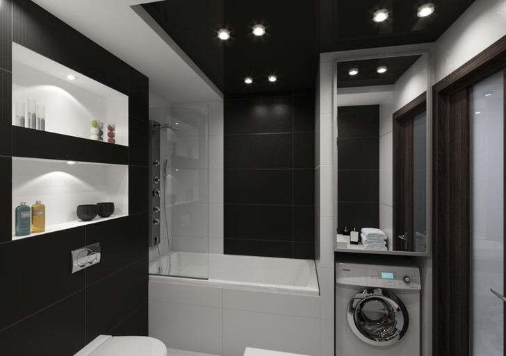 Стиль хай тек вместо мебели предлагает ниши в стене, и скрытые нажимные ревизионные люки для доступа к сантехнике и счётчикам.