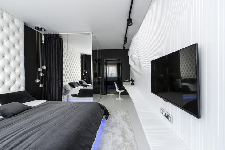 Комната в стиле хай-тек с элементами визуальных иллюзий.