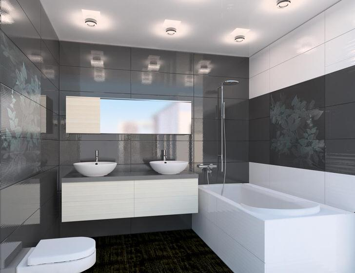 Максимум что может быть в ванной комнате в стиле хай тек-подвесная тумба под раковиной и телескопические вешалки.