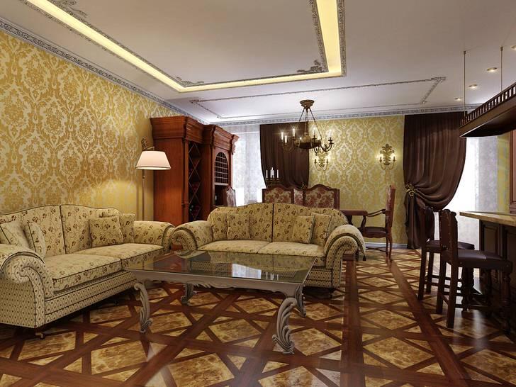 Светлая комната для гостей с контрастной темно-коричневой мебелью из дерева.