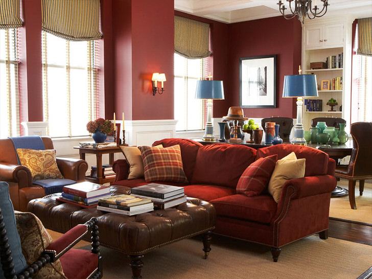 Элегантная мебель в просторной гостиной. Удивительная гармония красного в традиционном английском интерьере.