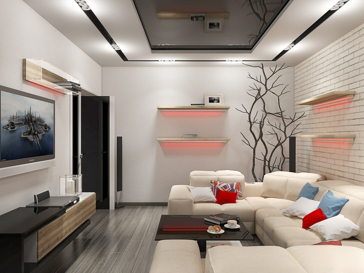 Дизайн интерьера прямоугольной гостиной 20 кв.м фото