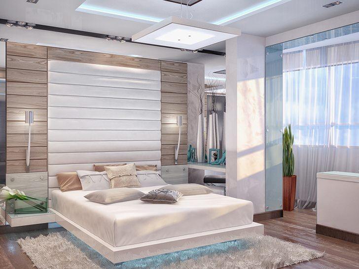 Современная мебель гармонично встраивается в стиль спальни.