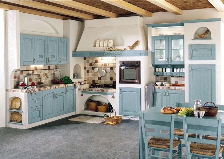 В оформлении кухни в соответствии со стилем кантри были использованы голубые и белые тона. На сидениях стульев постелены подстилки из трикотажа.