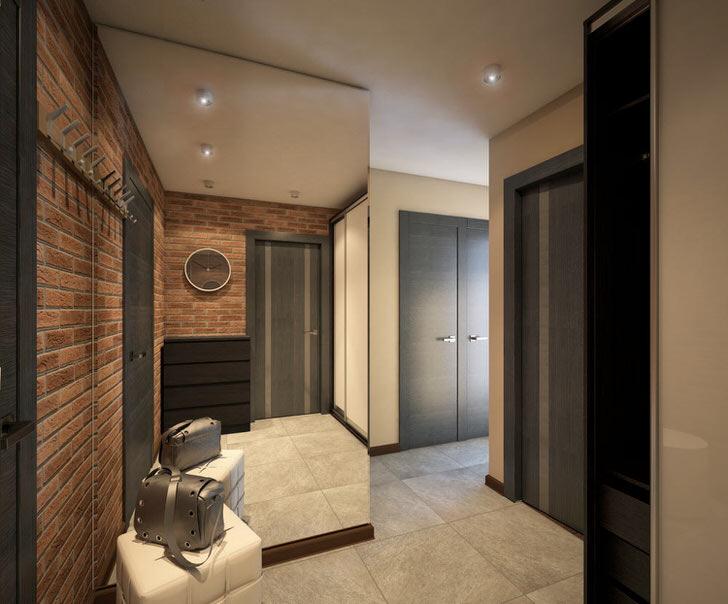 Дизайнерский проект прихожей-аккуратный вариант стиля лофт(кирпичная стена) и цвета благородного венга.