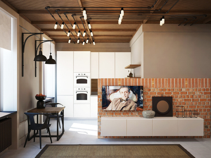 Со вкусом оформленная комната в стиле лофт всегда имеет своего хозяина.