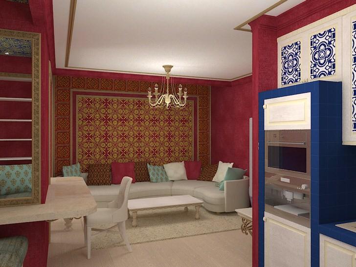 Уютный марокканский стиль-узнаваемый арнамент и цвета.