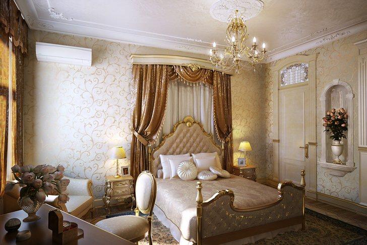 Только правильно подобранная мебель, как в этой спальне, может стать ярким примером барочного стиля.