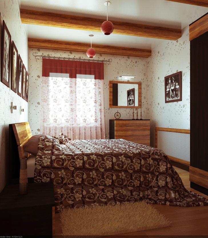 Современная комната в стиле кантри в интерьере обычной городской квартиры.