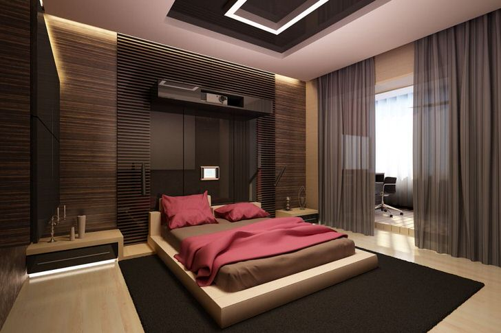 Просторная спальня в стиле минимализм. Смелое дизайнерское решение.