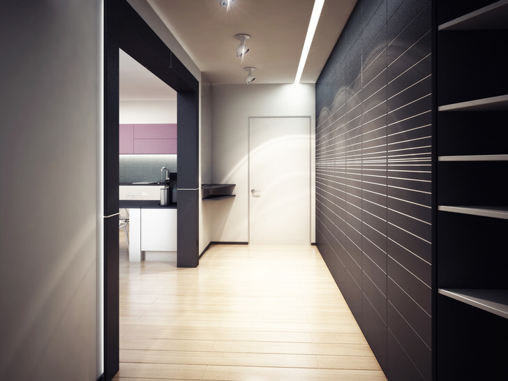 Правильно подобранная эргономичная мебель для прихожей. За счет функционального шкафа помещение стильной прихожей не загромождено.
