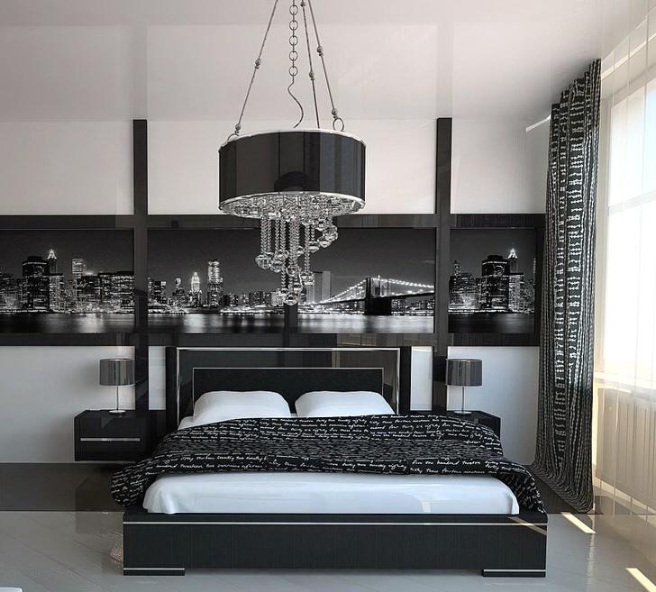 Геометрическая строгость и аскетичность в оформлении спальни в стиле хай-тек.