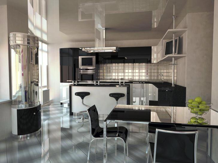 Кухня-студия в стиле хай тек. Представление об уюте у всех разное.