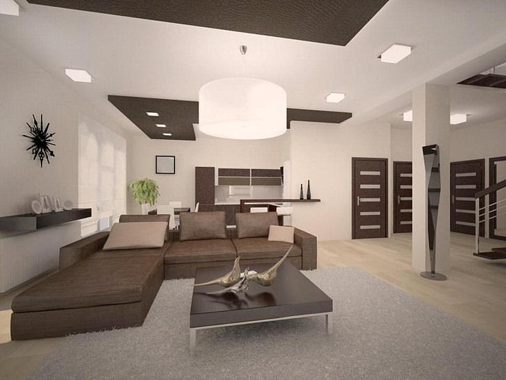 Темная мебель в гостиной определяет немецкий кантри.