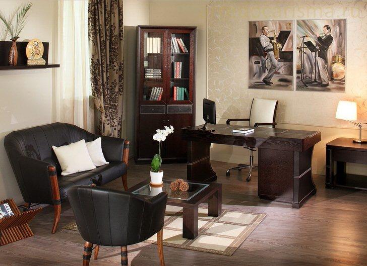 Аутентичная мебель в стиле модерн для кабинета воссоздаёт уют прошлых лет.