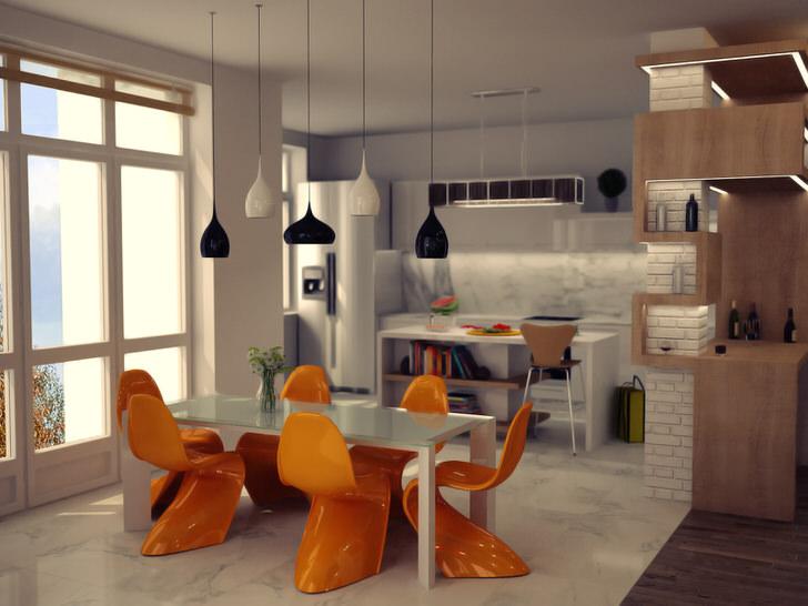 Симпатичная авангардная мебель для уютной гостиной.
