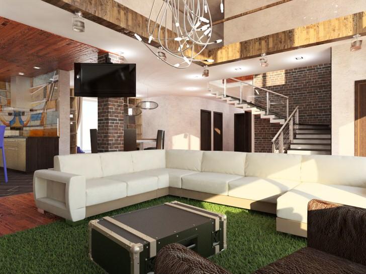 Светлая мягкая мебель в стиле конструктора LEGO, авангардная люстра-всё в характере стиля лофт.