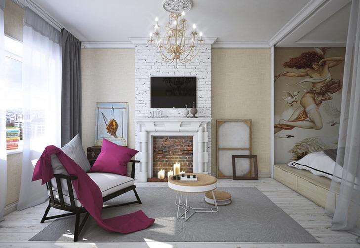 Мебель в гостиной светлого и темного тонов разная по своей стилистике, но, благодаря белым подушкам, она идеально вписывается в общую концепцию стиля эклектика.