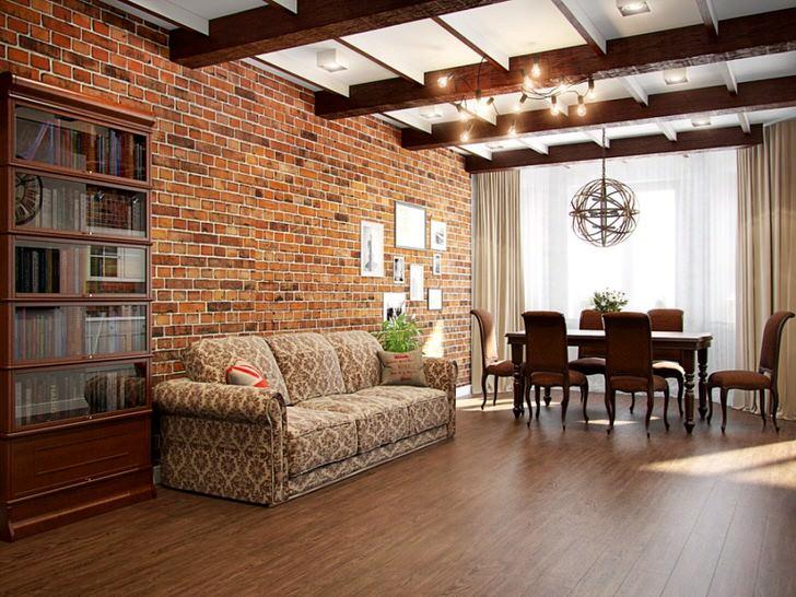 Удивительная гармония кирпичной кладки стены под эпоху начала 19 века и мебели в гостиной.
