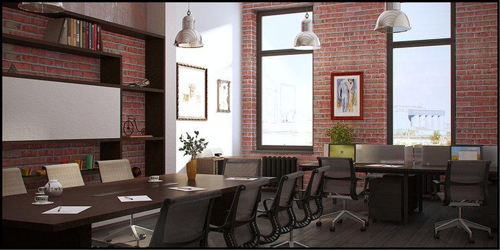 Кабинет в стиле лофт отделан красным кирпичом. Функциональное решение для большого помещения.