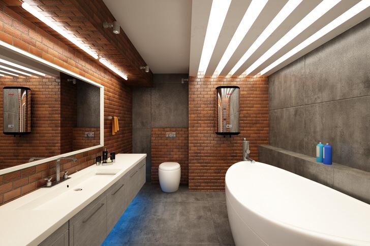 Имитация кирпичной кладки в ванной комнате в стиле лофт гармонично сочетается с белоснежной мебелью.