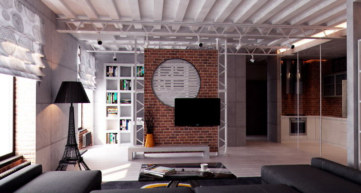 Комната для гостей в стиле лофт. Основным показателем стиля можно назвать металлические трубы, которые проходят через всю гостиную.