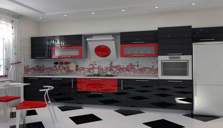 Сочетание насыщенного красного и контрастного черного цвета идеально подходит для оформления кухни в стиле модерн.