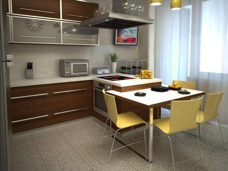 Дизайнерский проект для кухни площадью 12 квадратных метров. Правильно подобранный вариант мебели позволяет экономить полезное пространство.