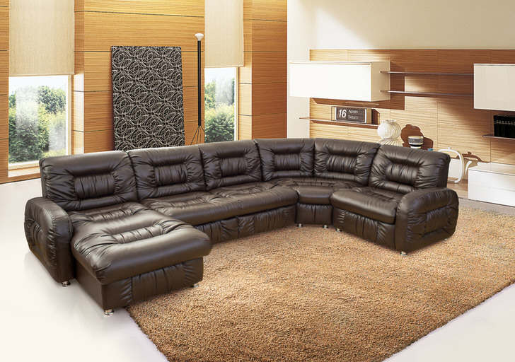 Роскошный конструктор кожаной мягкой мебели для просторной гостиной.