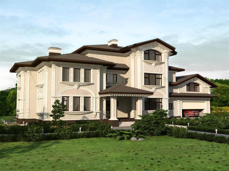 Роскошный загородный дом декорирован изысканной лепниной белого цвета.